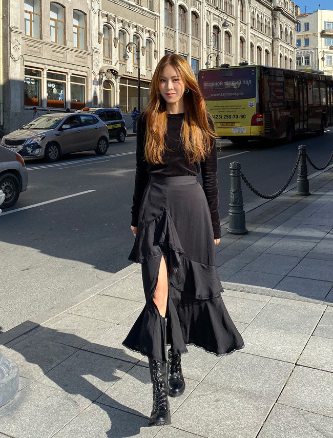 Silky Tiered Long Skirt