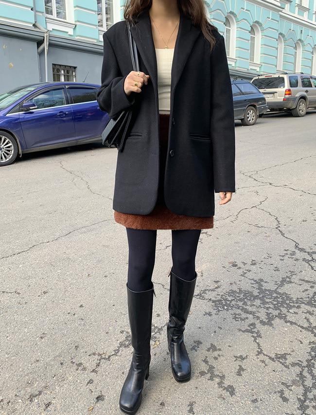 Black Single-Breasted Wool Blend Jacket