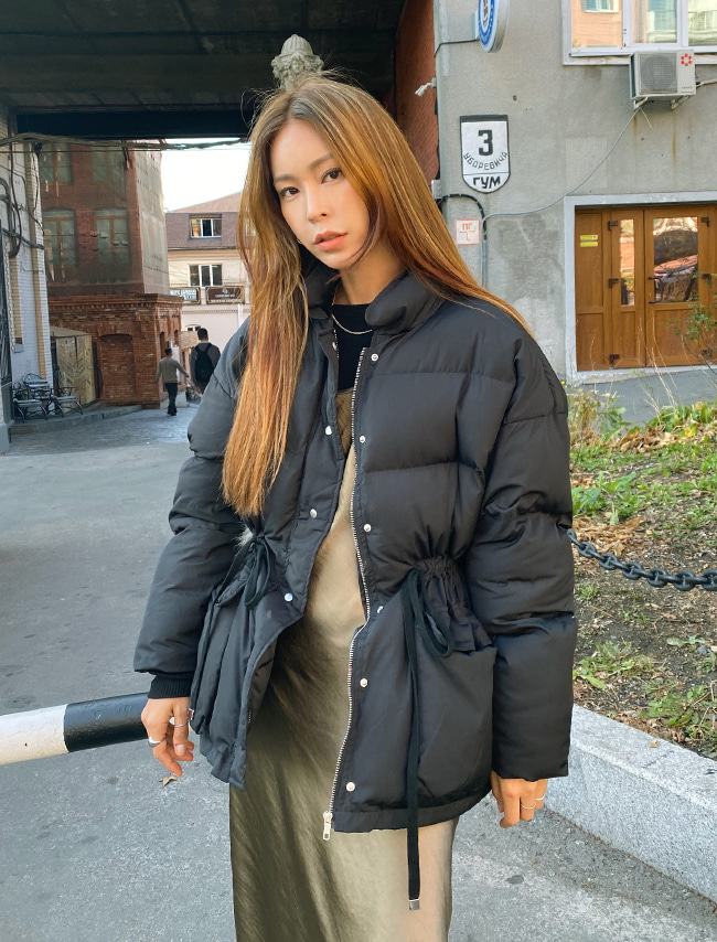Drawstring Waist Padded Jacket