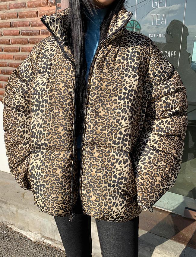 Leopard Print Reversible Padded Jacket
