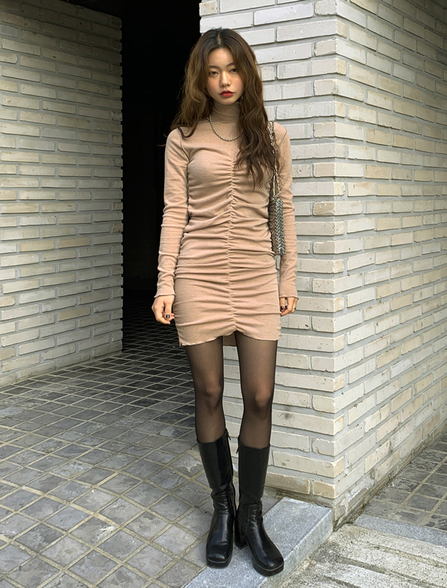Shirred Turtleneck Dress