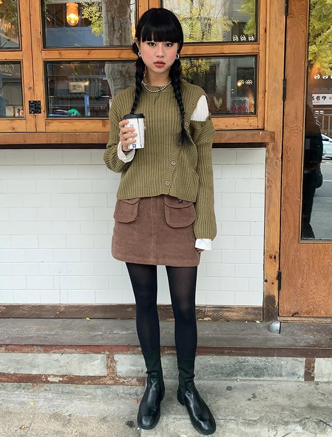 Patch Pocket A-Line Mini Skirt