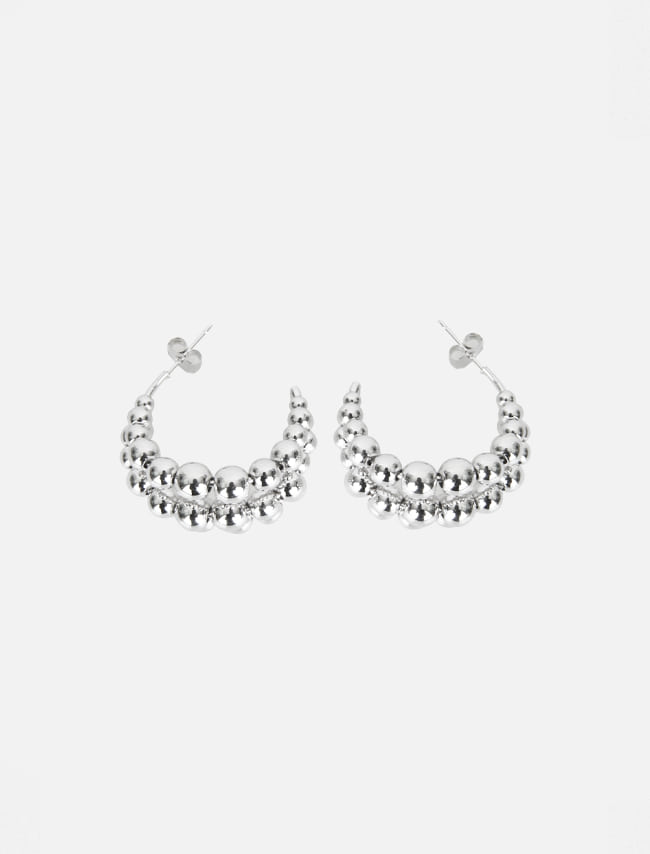 Round Ball Cluster Half Hoop Earrings