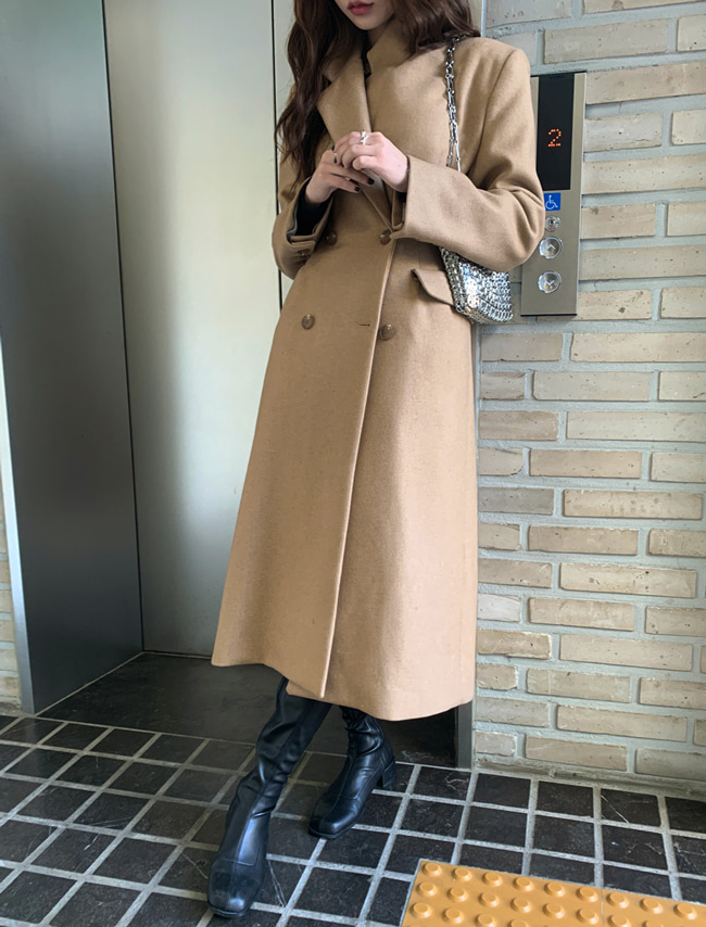 Double-Breasted Notched Lapel Coat