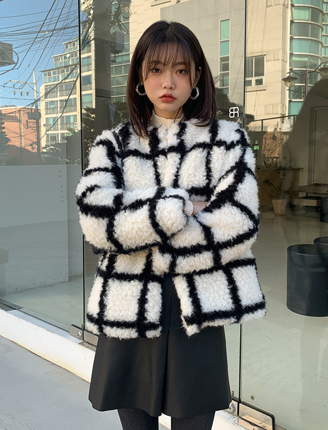 Boxy Check Fur Jacket