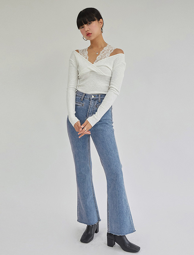 Faux Pocket Bootcut Jeans