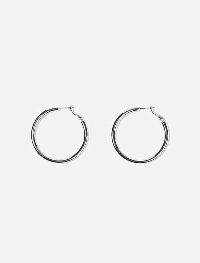 Glossy Metallic Hoop Earrings