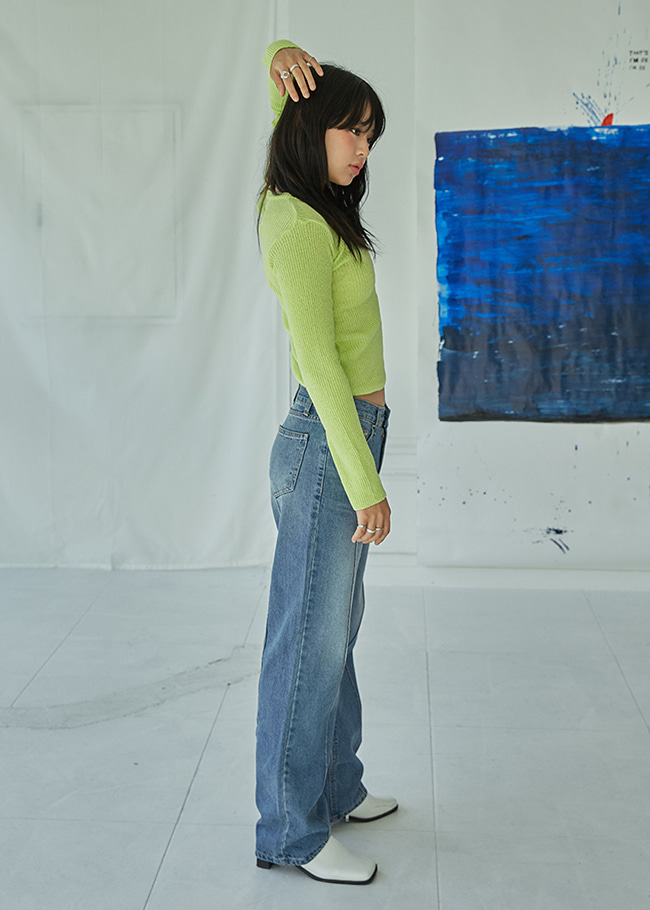 Front Seam Straight Cut Jeans