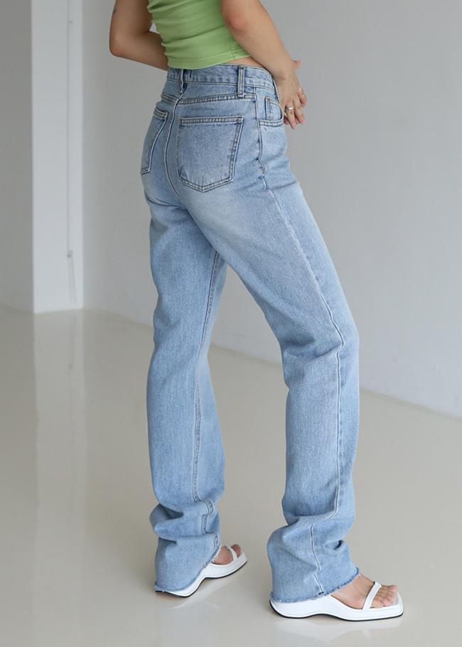 High Waist Light Blue Straight Jeans