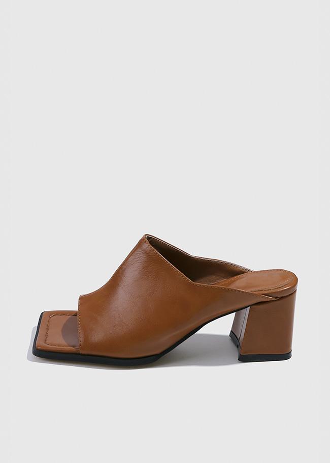 Block Heel Faux Leather Open Toe Mules