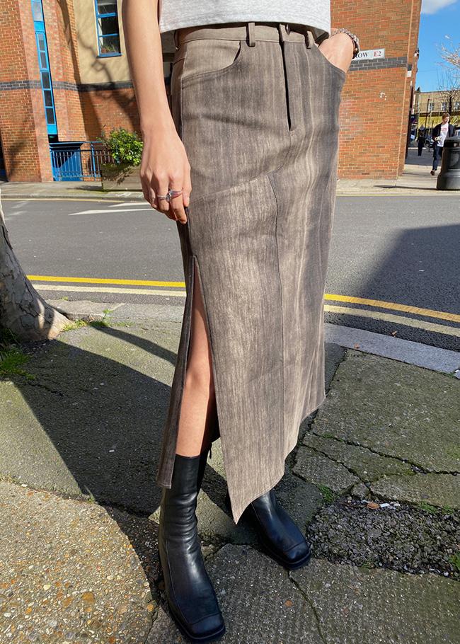 Long Side Slit Brushed Skirt