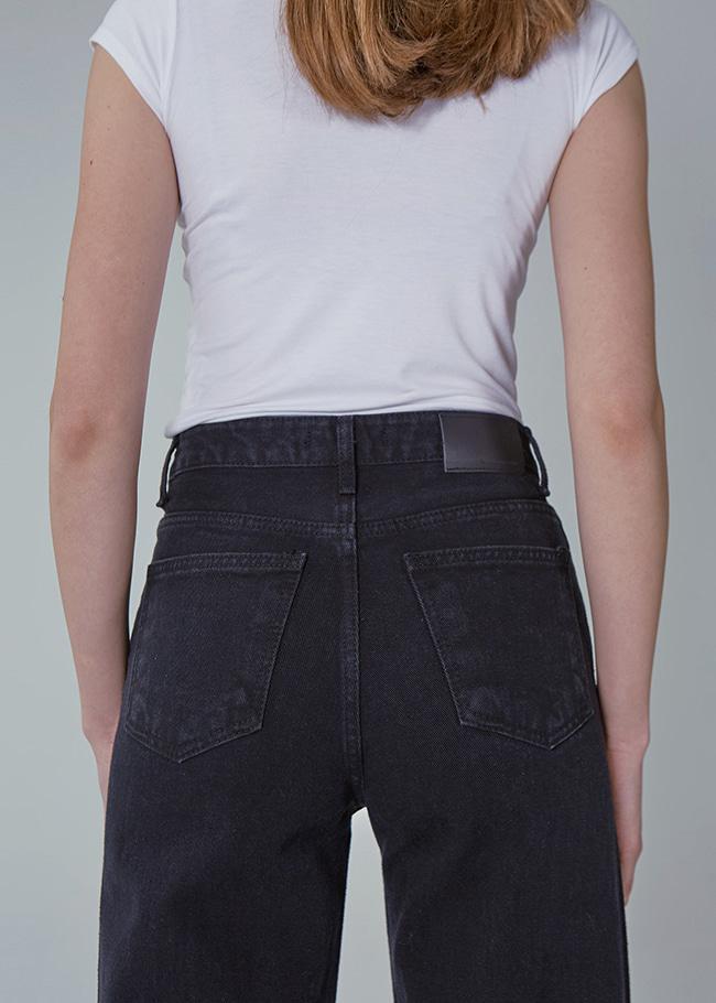 Wide Leg Black Denim Jeans