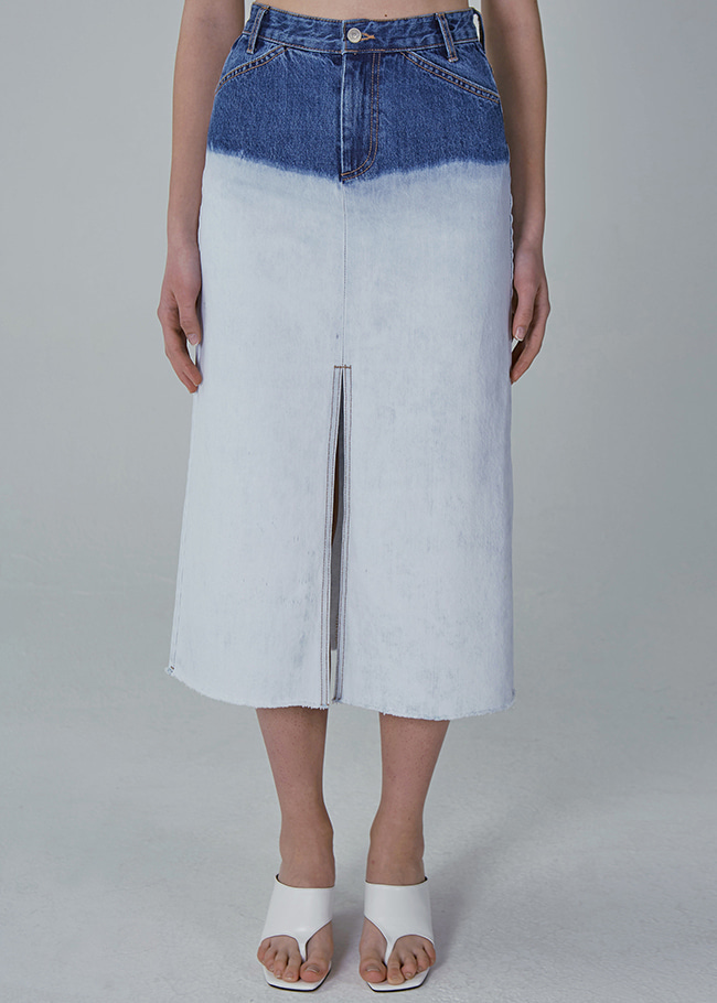 Front Slit Bleached Denim Skirt