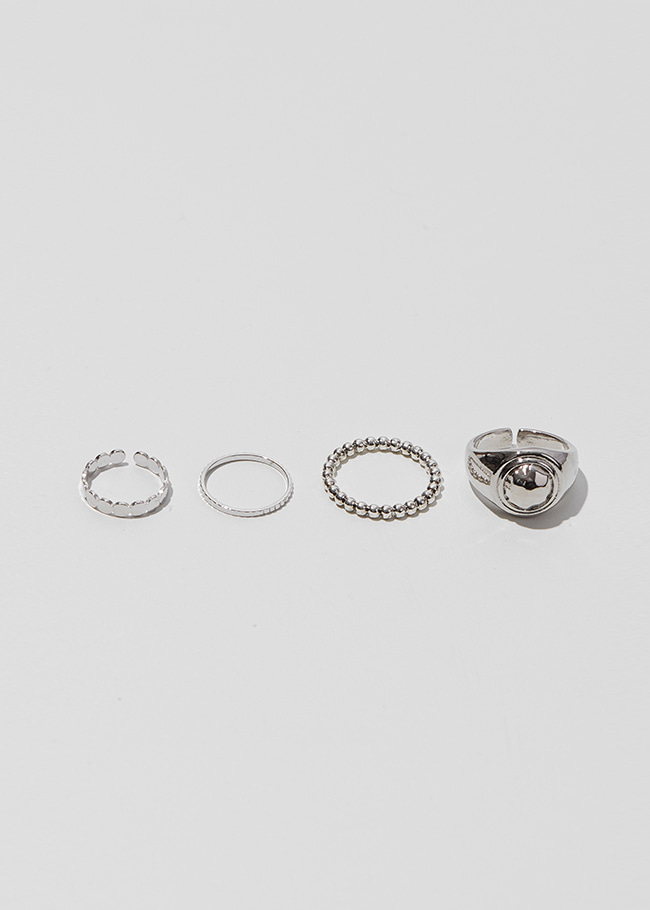 Silver-Tone Metallic Four-Piece Ring Set