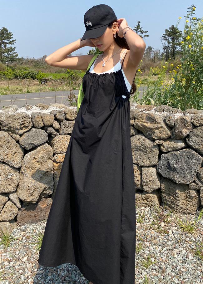 Open Back Shirred Long Dress