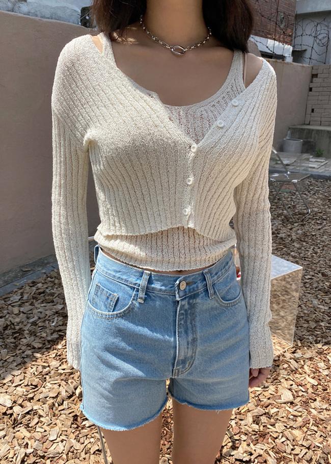 Knit V-Neck Top and Crop Cardigan Set