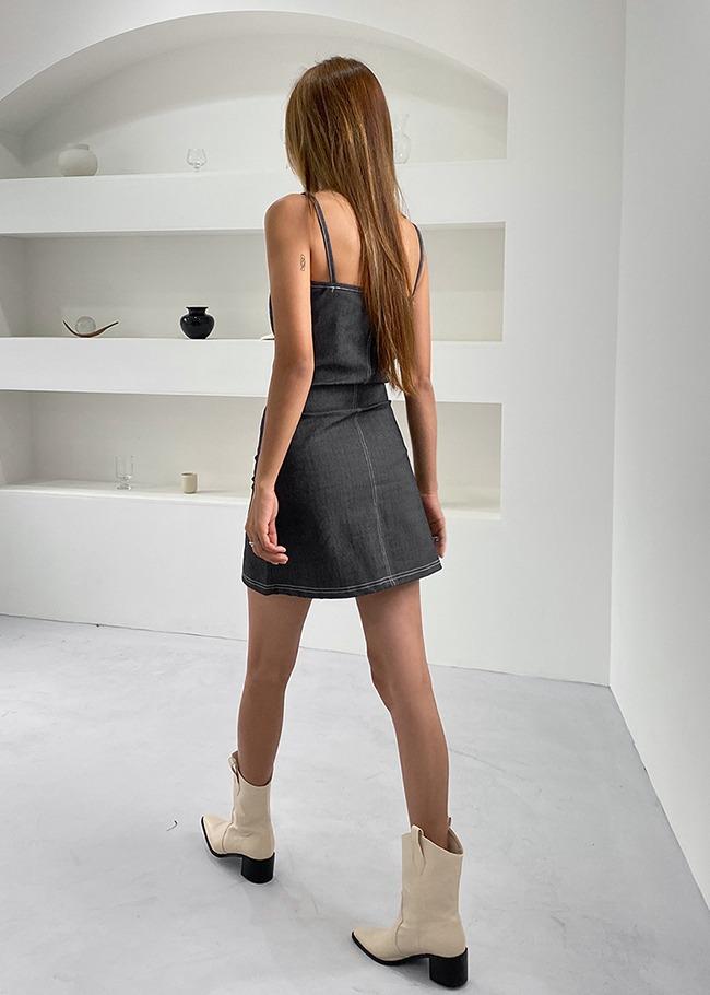 Minimalist Contrast Stitch Mini Dress