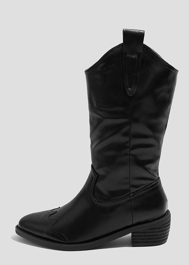 Stacked Heel Western Boots