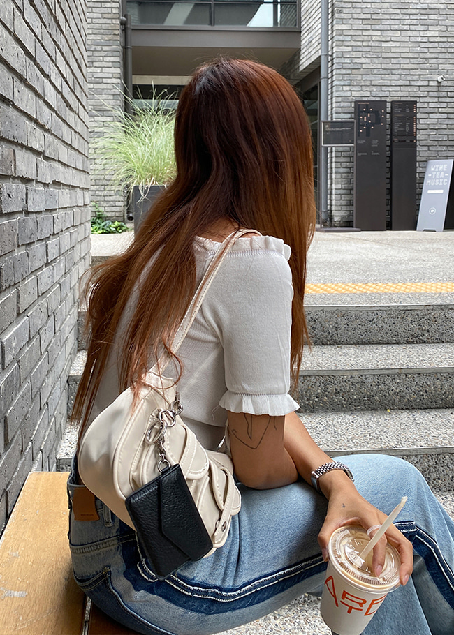 Ruffle Accent Shirred Knit Top