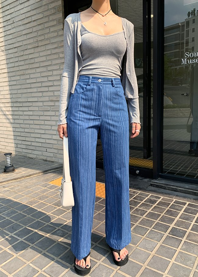 Straight Leg High Rise Stripe Jeans