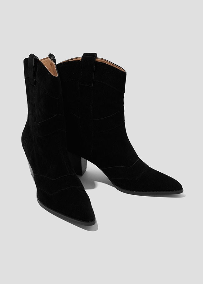 Stacked Heel Pointed Ankle Boots