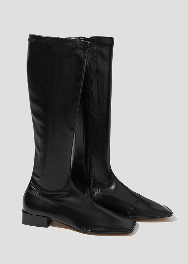 Square Toe Side Zipper Heeled Boots
