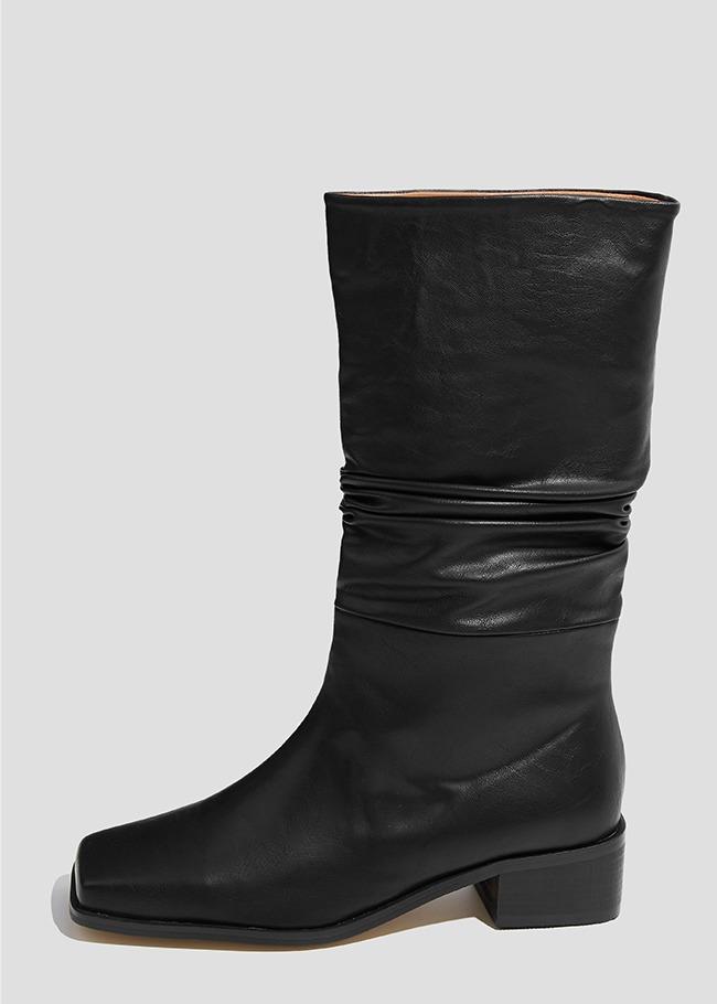 Crinkled Midi Boots