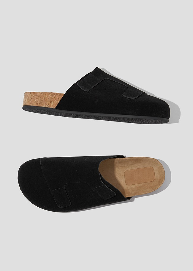 Touch-Fastened Faux Suede Mules