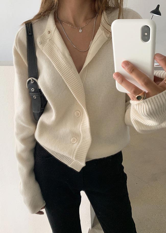 Wool Blend Button-Up Long Cardigan