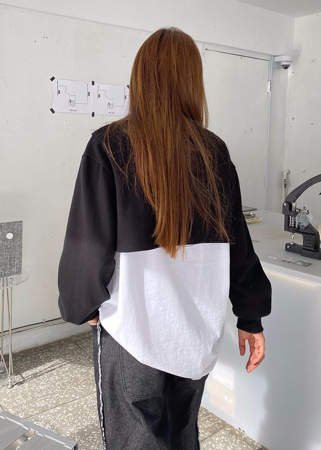 Mock Overlap Cropped Sweatshirt