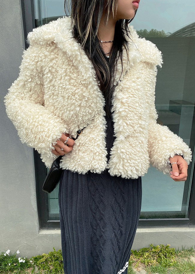 Collared Faux Fur Solid Tone Jacket