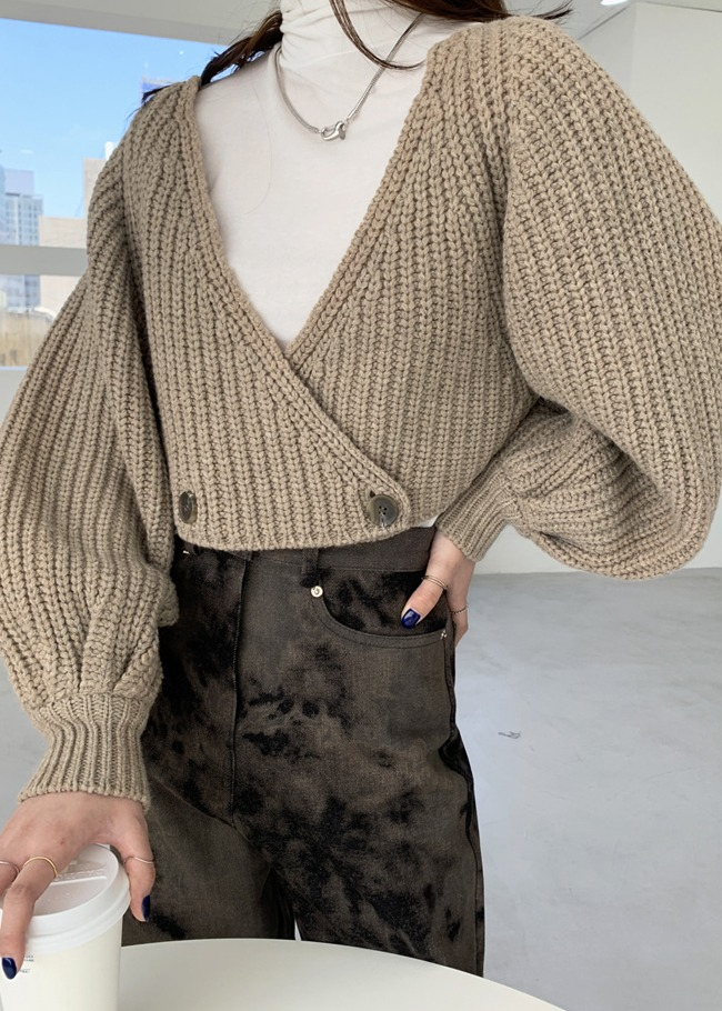 Cropped Double-Breasted Cardigan