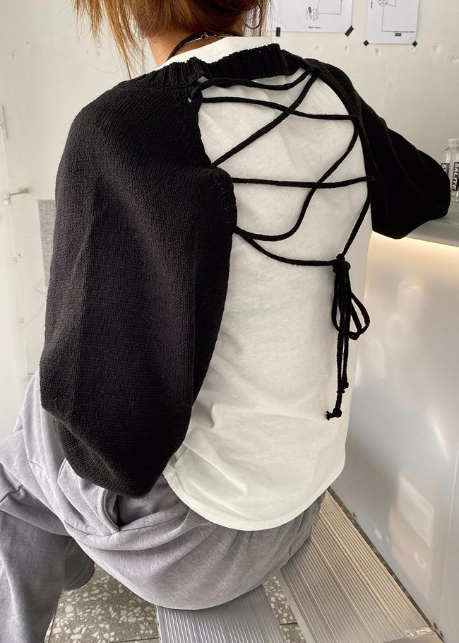 Lace-Up Back Crop Knit Top