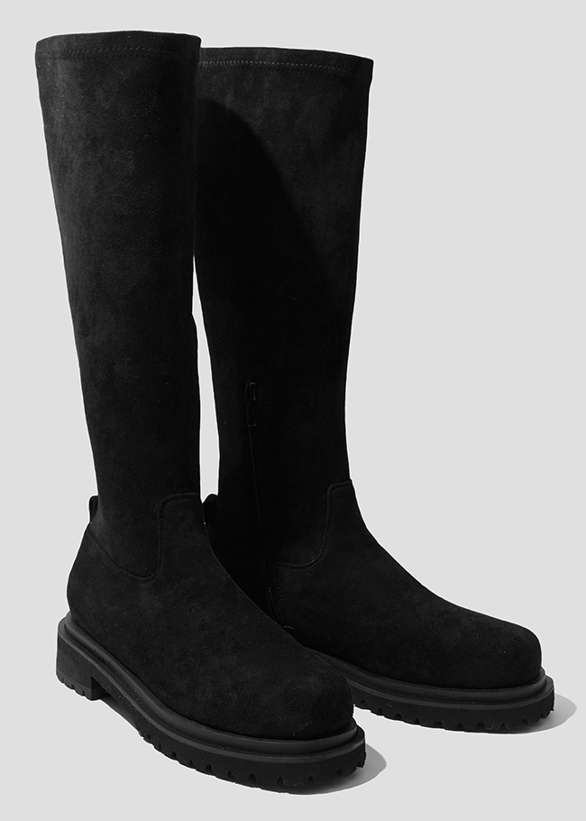 Tall Round Toe Low Heel Boots