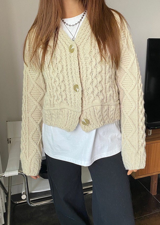 Cropped Cable Woolen Cardigan