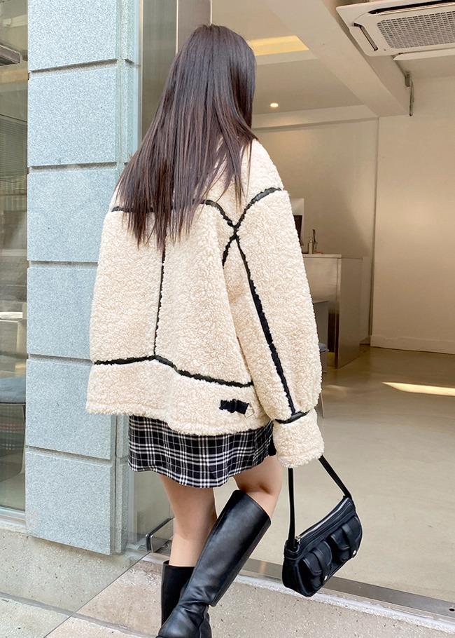 Contrast Trim Sherpa Fleece Jacket