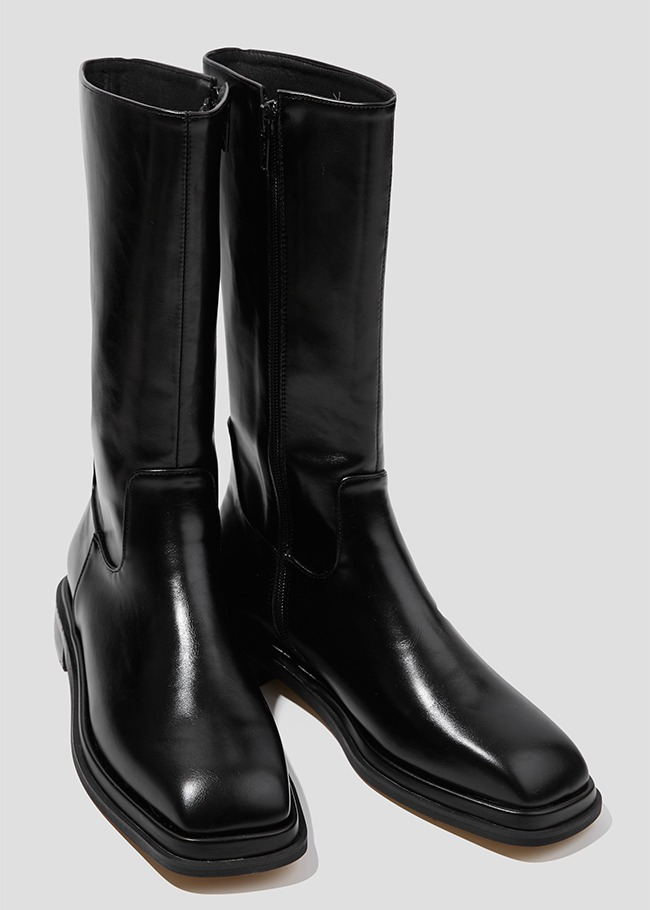Square Toe Low Heel Midi Boots