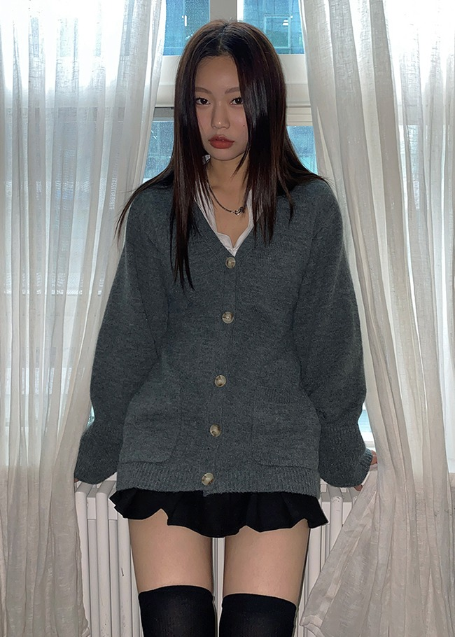 Extended Sleeve Button-Up Cardigan