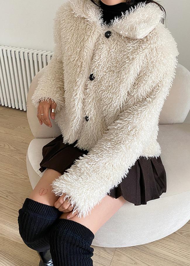 Basic Collared Faux Fur Jacket