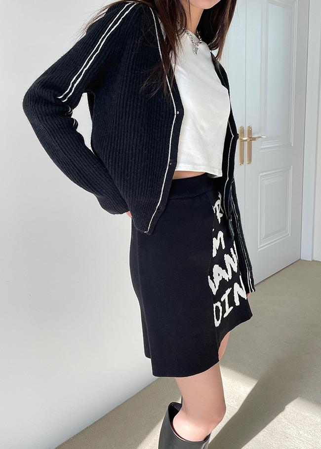 Asymmetrical Lettering Knit Skirt