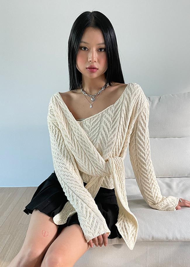 Crop Wrap Knit Top
