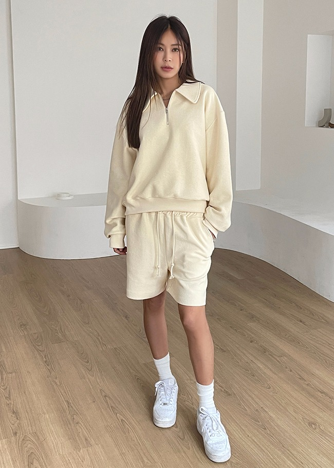 Collared Sweatshirt and Drawstring Shorts Set