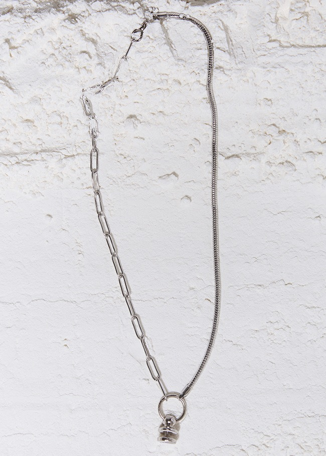Industrial Pendant Mixed Chain Necklace