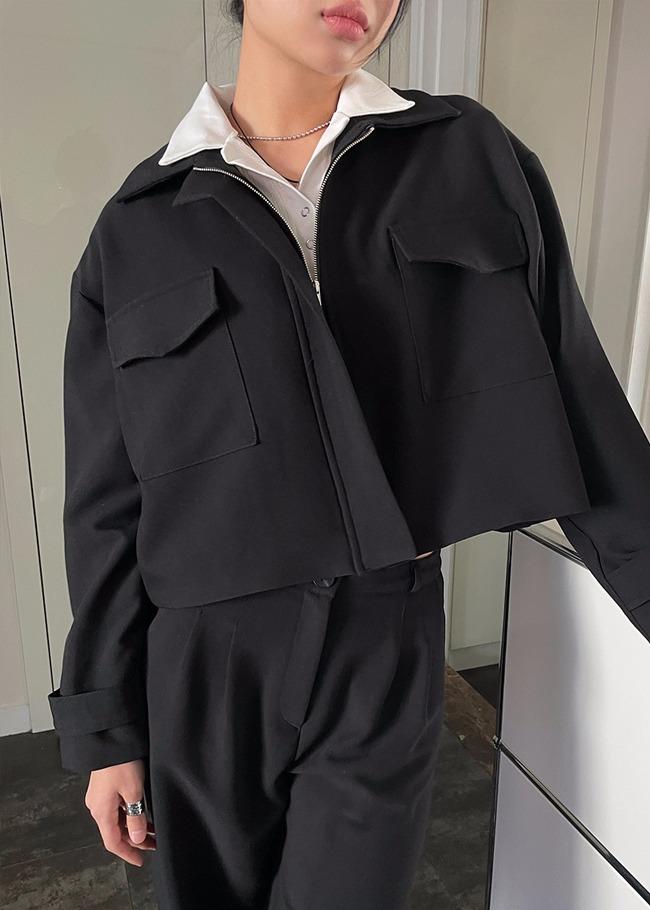 Hidden Front Closure Collared Jacket