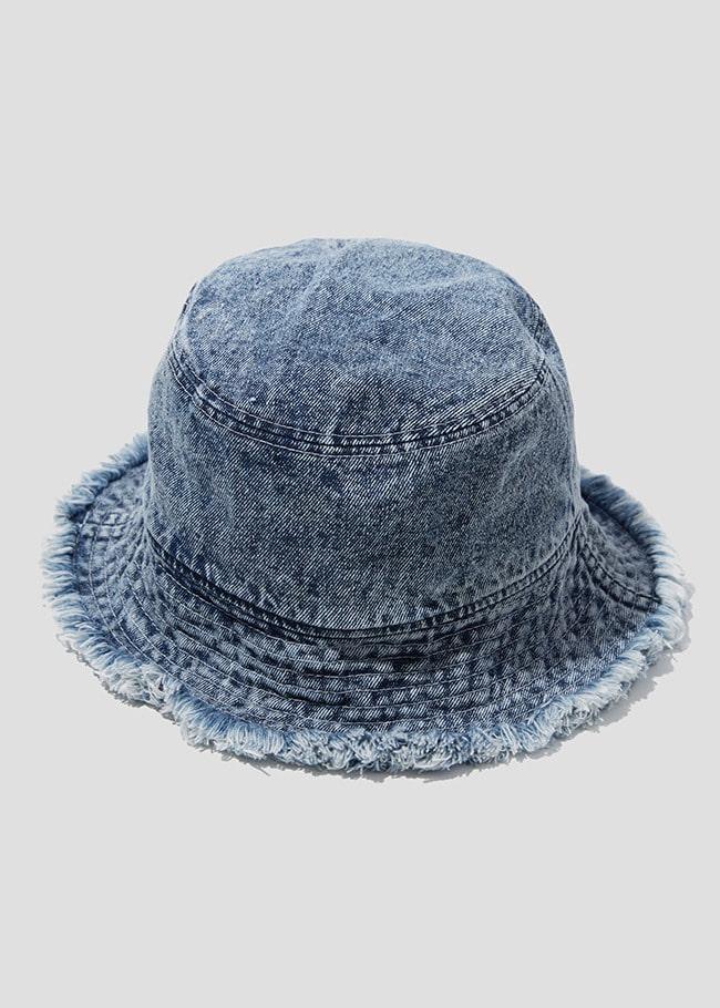 Fringe Trim Denim Bucket Hat