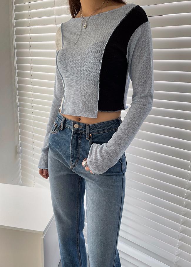 Color Contrast Asymmetrical Knit Top