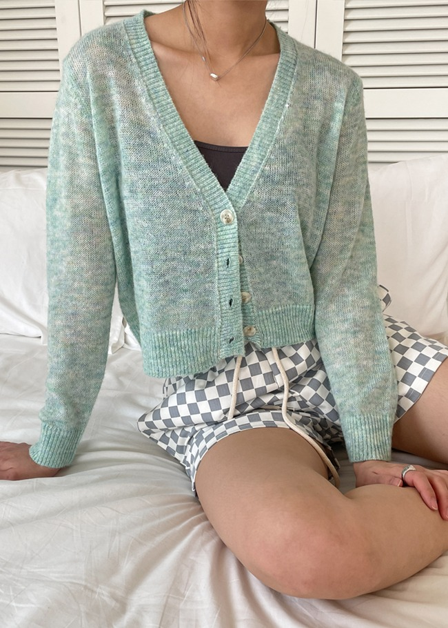 Deep V-Neck Heathered Cardigan
