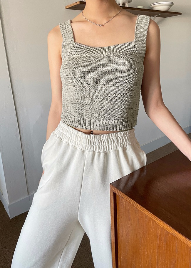 Square Neck Crop Knit Top