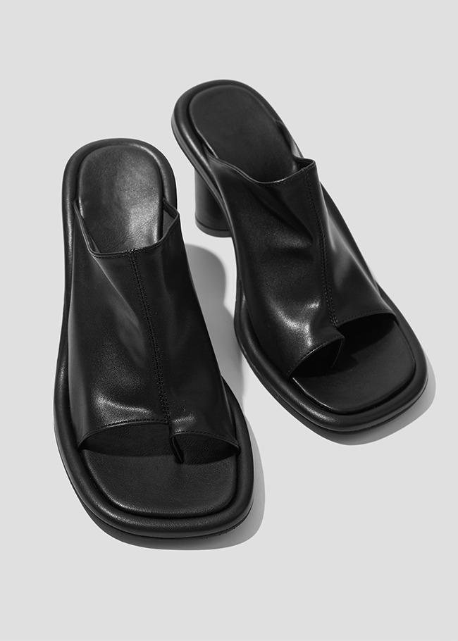 High Heel Slit Detail Open Toe Mules