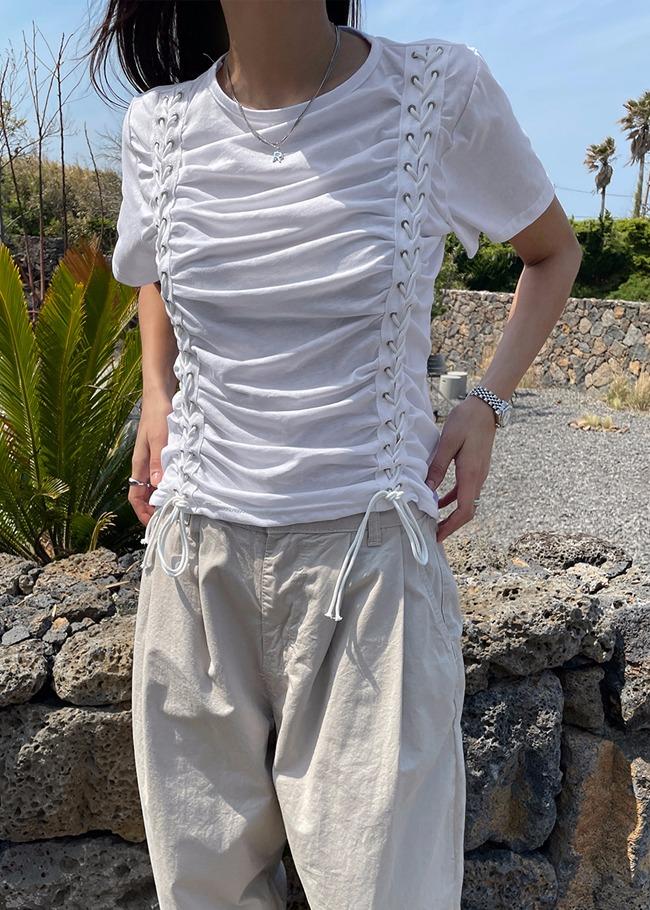 Grommet Shirred T-Shirt
